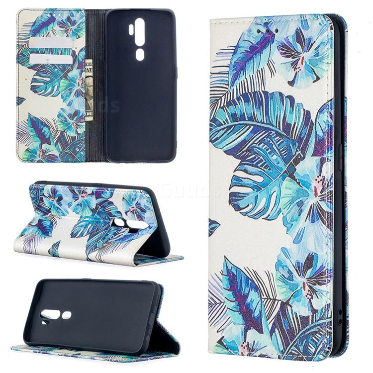 Blue Leaf Slim Magnetic Attraction Wallet Flip Cover for Oppo A5 (2020)