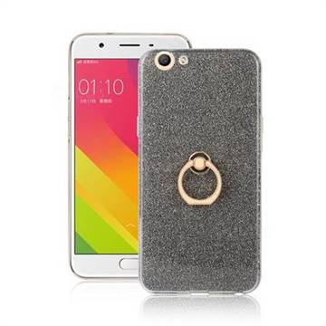 Luxury Soft TPU Glitter Back Ring Cover with 360 Rotate Finger Holder Buckle for Oppo A59 - Black