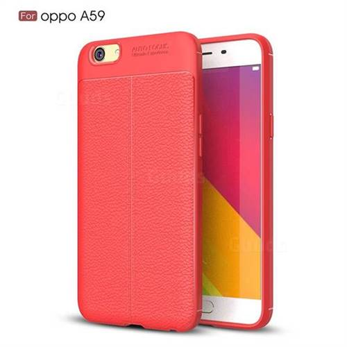Luxury Auto Focus Litchi Texture Silicone TPU Back Cover for Oppo A59 - Red