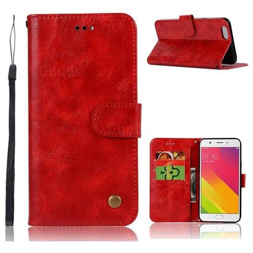 Luxury Retro Leather Wallet Case for Oppo A59 - Red