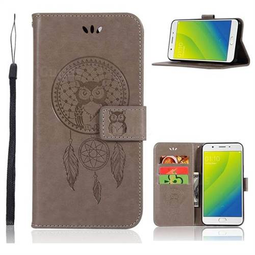 Intricate Embossing Owl Campanula Leather Wallet Case for Oppo A59 - Grey