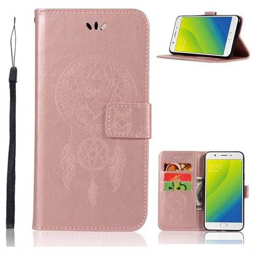Intricate Embossing Owl Campanula Leather Wallet Case for Oppo A59 - Rose Gold