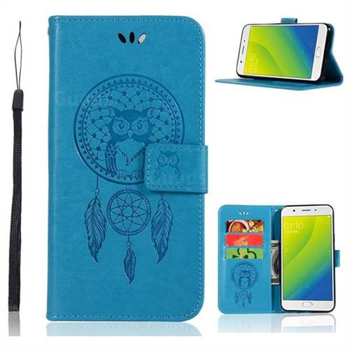 Intricate Embossing Owl Campanula Leather Wallet Case for Oppo A59 - Blue