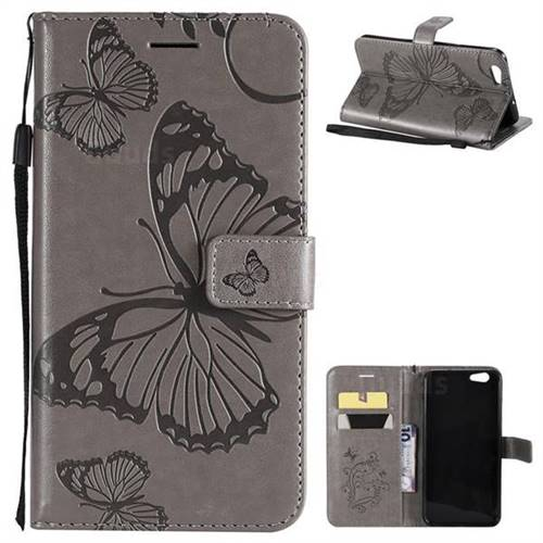 Embossing 3D Butterfly Leather Wallet Case for Oppo A59 - Gray