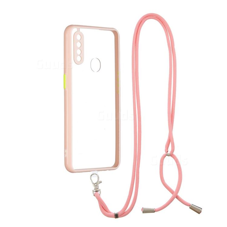 Necklace Cross-body Lanyard Strap Cord Phone Case Cover for Oppo A8 - Pink