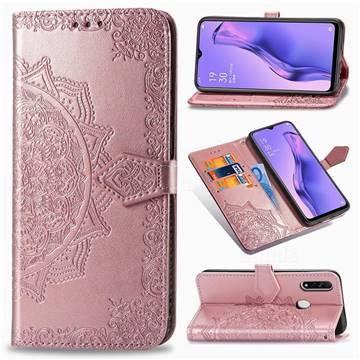 Embossing Imprint Mandala Flower Leather Wallet Case for Oppo A8 - Rose Gold