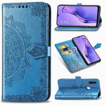 Embossing Imprint Mandala Flower Leather Wallet Case for Oppo A8 - Blue