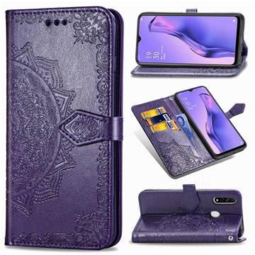 Embossing Imprint Mandala Flower Leather Wallet Case for Oppo A8 - Purple