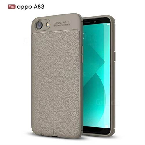 Luxury Auto Focus Litchi Texture Silicone TPU Back Cover for Oppo A83 - Gray