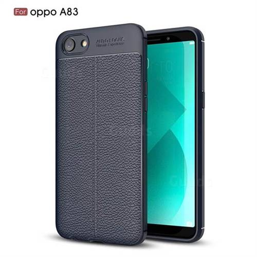 Luxury Auto Focus Litchi Texture Silicone TPU Back Cover for Oppo A83 - Dark Blue