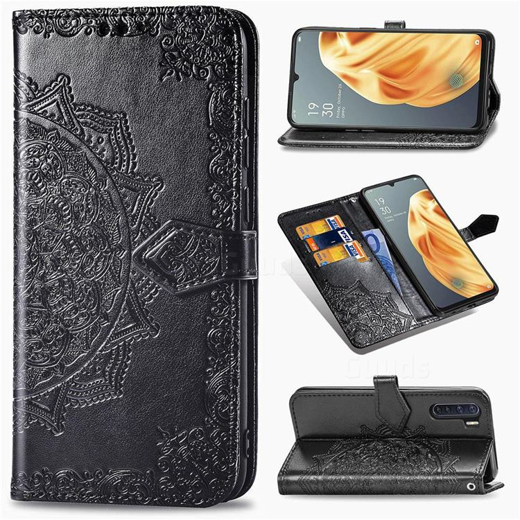 Embossing Imprint Mandala Flower Leather Wallet Case for Oppo A91 - Black