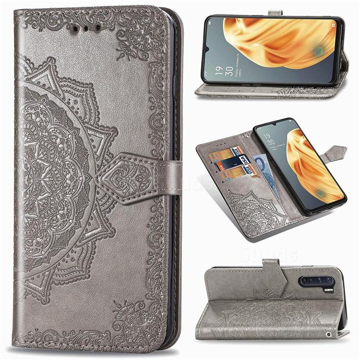 Embossing Imprint Mandala Flower Leather Wallet Case for Oppo A91 - Gray