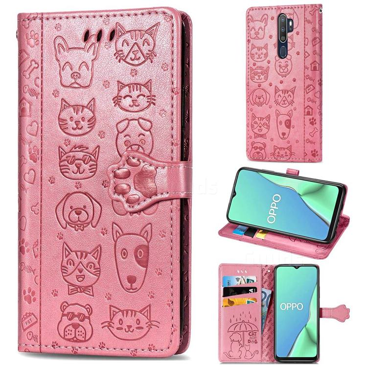Embossing Dog Paw Kitten and Puppy Leather Wallet Case for Oppo A9 (2020) - Pink