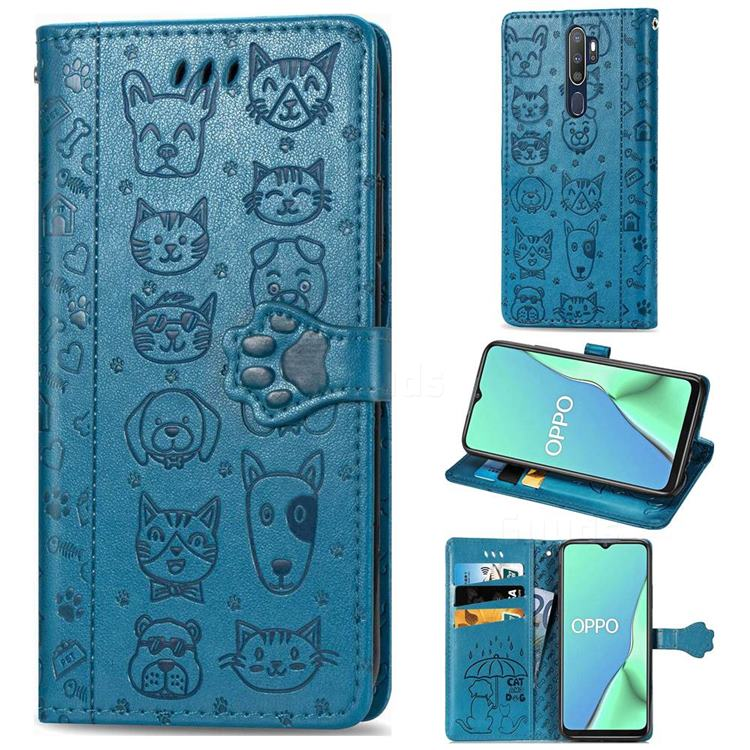 Embossing Dog Paw Kitten and Puppy Leather Wallet Case for Oppo A9 (2020) - Blue