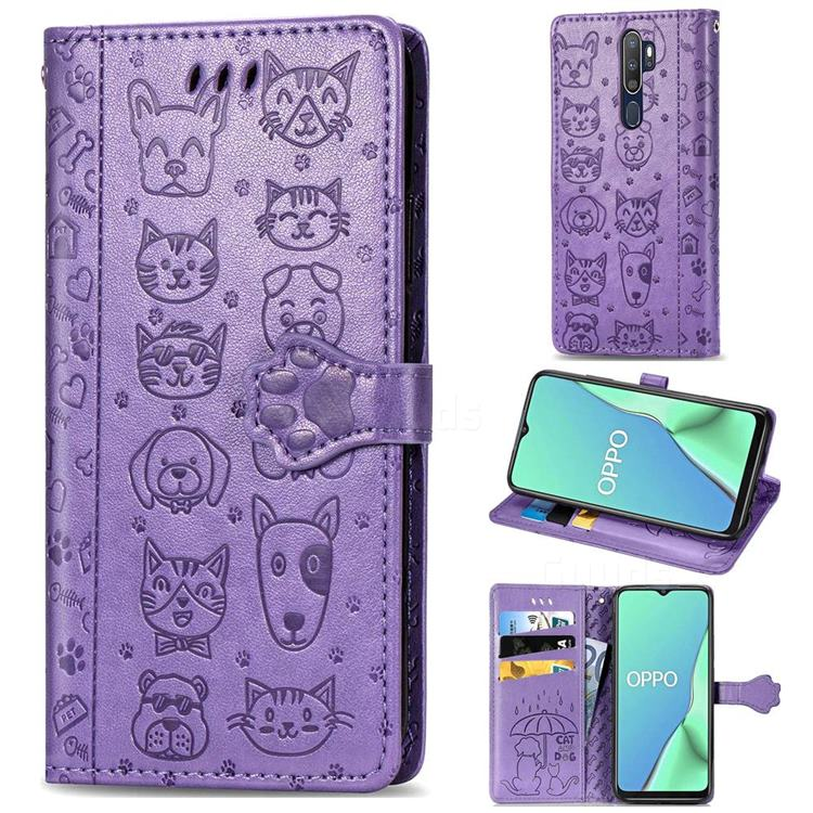 Embossing Dog Paw Kitten and Puppy Leather Wallet Case for Oppo A9 (2020) - Purple