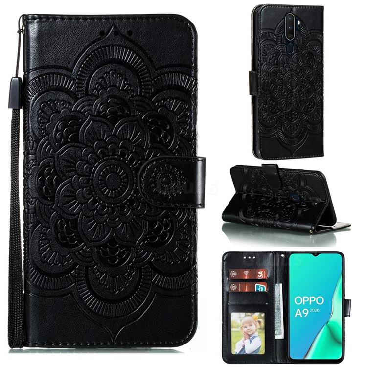 Intricate Embossing Datura Solar Leather Wallet Case for Oppo A9 (2020) - Black