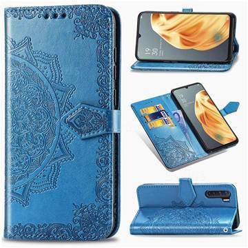 Embossing Imprint Mandala Flower Leather Wallet Case for Oppo F15 - Blue