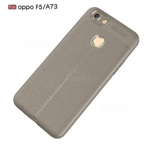 info for 4205e 1e3db Luxury Auto Focus Litchi Texture Silicone TPU Back Cover for Oppo F5 - Gray