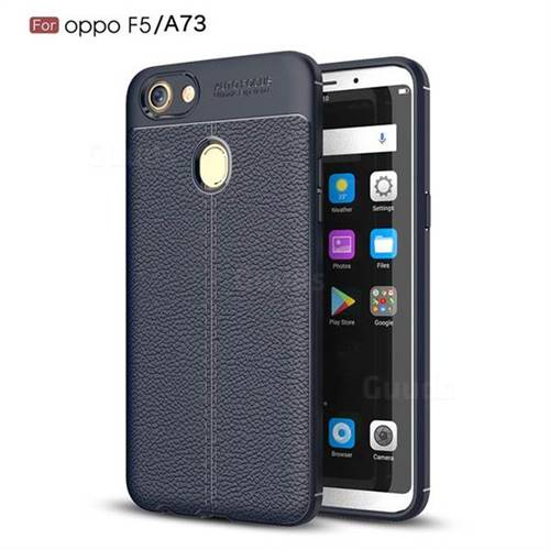 Luxury Auto Focus Litchi Texture Silicone TPU Back Cover for Oppo F5 - Dark Blue