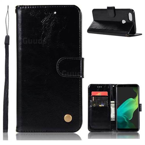Luxury Retro Leather Wallet Case for Oppo F5 - Black