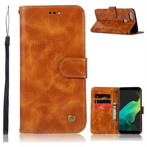 Luxury Retro Leather Wallet Case for Oppo F5 - Golden