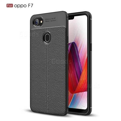 Luxury Auto Focus Litchi Texture Silicone TPU Back Cover for Oppo F7 - Black