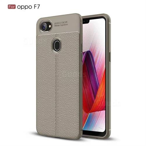 Luxury Auto Focus Litchi Texture Silicone TPU Back Cover for Oppo F7 - Gray