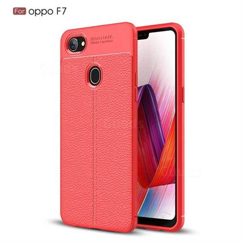 Luxury Auto Focus Litchi Texture Silicone TPU Back Cover for Oppo F7 - Red