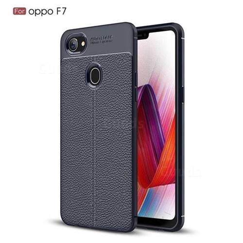 Luxury Auto Focus Litchi Texture Silicone TPU Back Cover for Oppo F7 - Dark Blue