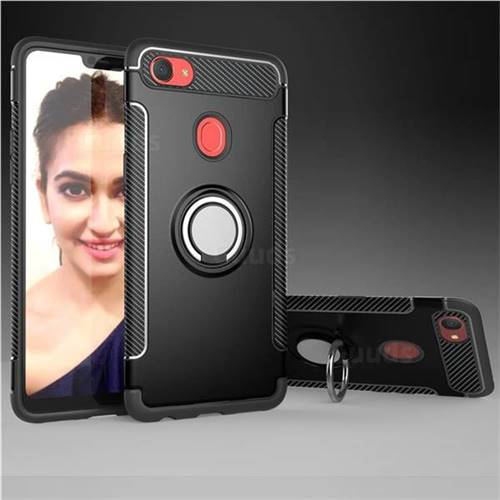 Armor Anti Drop Carbon PC + Silicon Invisible Ring Holder Phone Case for Oppo F7 - Black