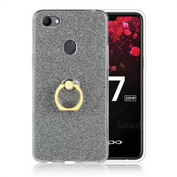 Luxury Soft TPU Glitter Back Ring Cover with 360 Rotate Finger Holder Buckle for Oppo F7 - Black