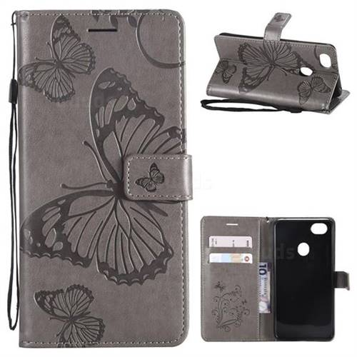 Embossing 3D Butterfly Leather Wallet Case for Oppo F7 - Gray