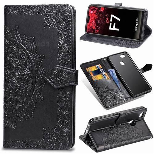 Embossing Imprint Mandala Flower Leather Wallet Case for Oppo F7 - Black