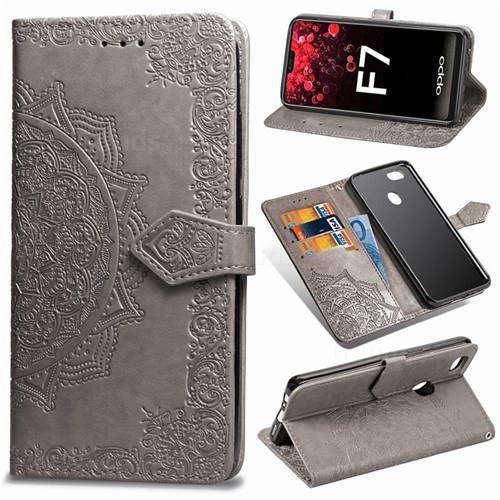 Embossing Imprint Mandala Flower Leather Wallet Case for Oppo F7 - Gray