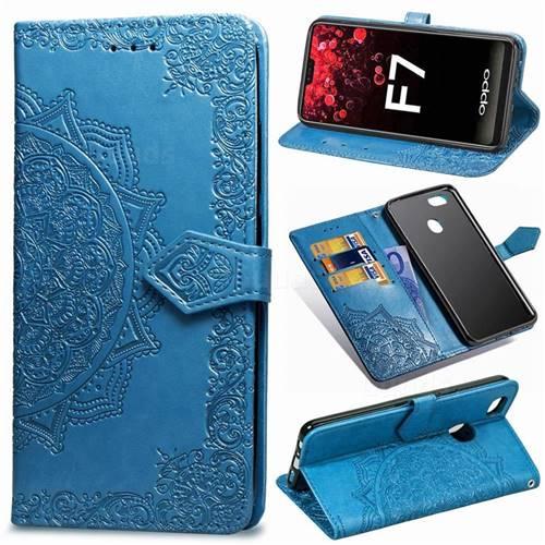 Embossing Imprint Mandala Flower Leather Wallet Case for Oppo F7 - Blue