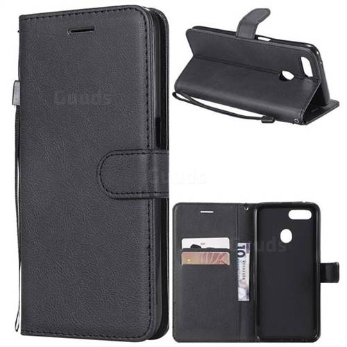 Retro Greek Classic Smooth PU Leather Wallet Phone Case for Oppo F9 (F9 Pro) - Black