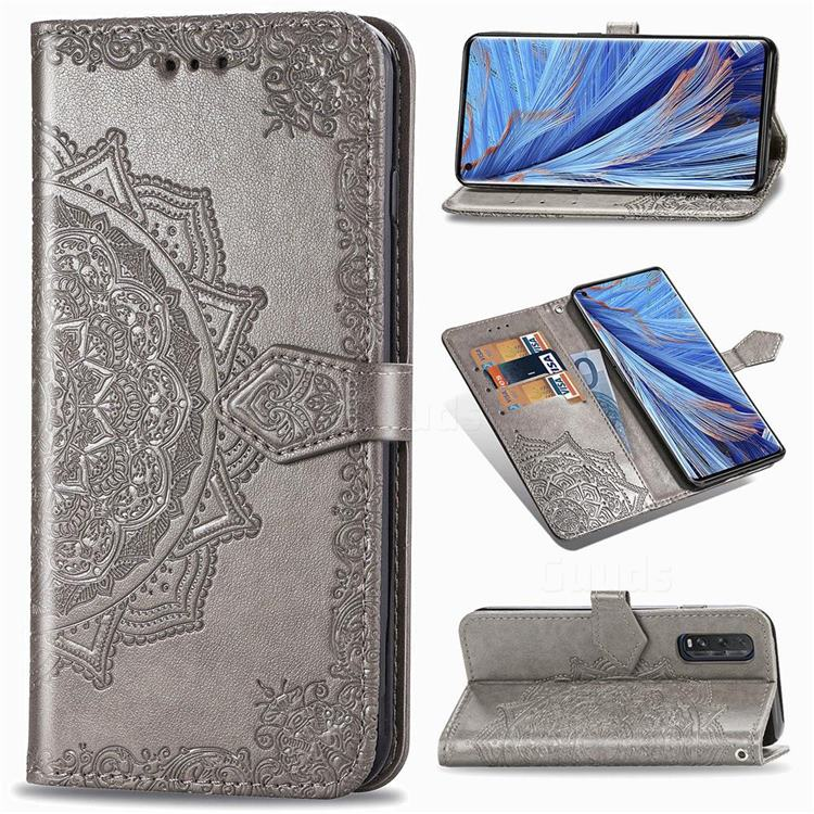 Embossing Imprint Mandala Flower Leather Wallet Case for Oppo Find X2 - Gray