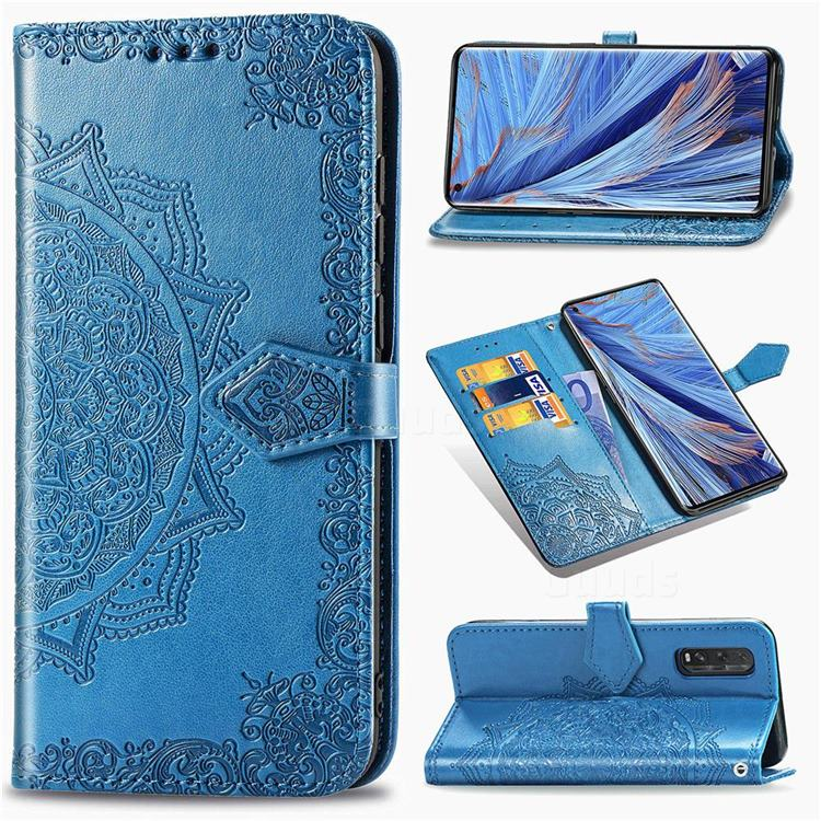 Embossing Imprint Mandala Flower Leather Wallet Case for Oppo Find X2 - Blue