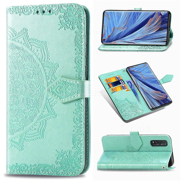Embossing Imprint Mandala Flower Leather Wallet Case for Oppo Find X2 - Green