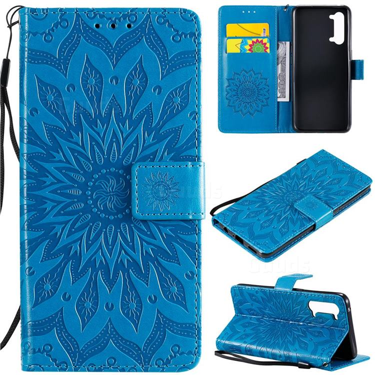 Embossing Sunflower Leather Wallet Case for Oppo Find X2 Lite - Blue