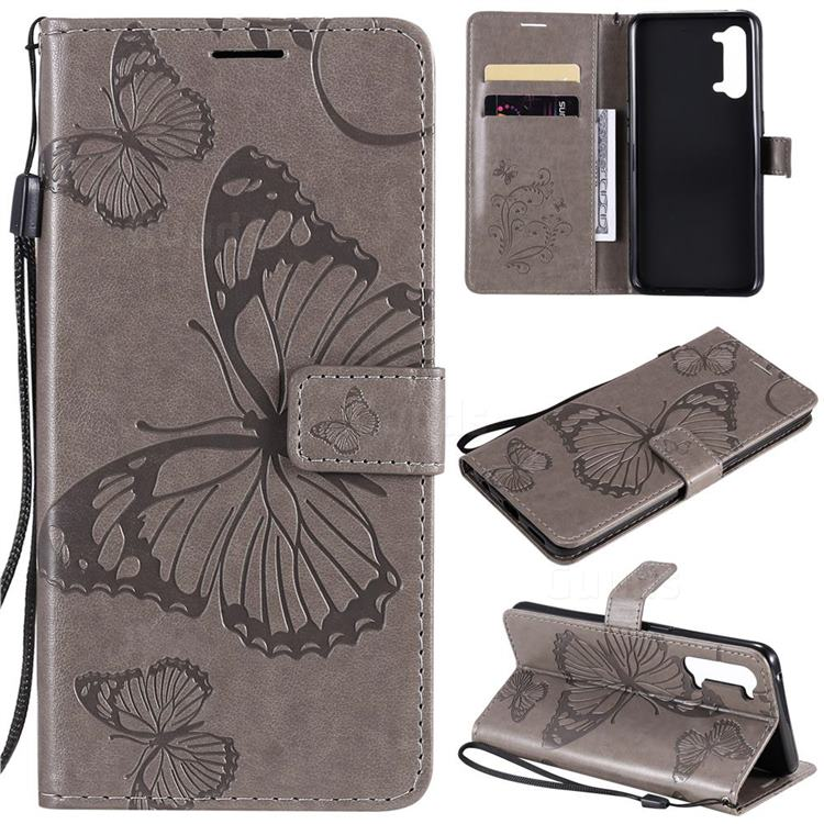 Embossing 3D Butterfly Leather Wallet Case for Oppo Find X2 Lite - Gray
