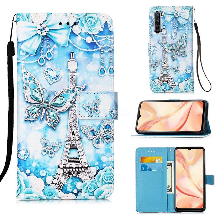 Tower Butterfly Matte Leather Wallet Phone Case for Oppo Find X2 Lite