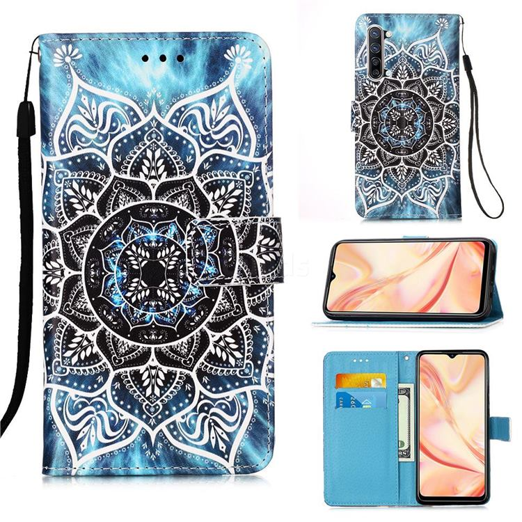 Underwater Mandala Matte Leather Wallet Phone Case for Oppo Find X2 Lite