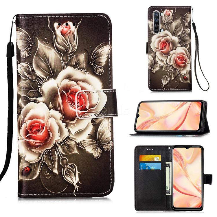 Black Rose Matte Leather Wallet Phone Case for Oppo Find X2 Lite