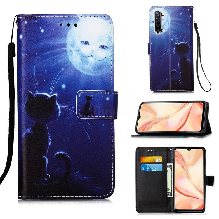 Cat and Moon Matte Leather Wallet Phone Case for Oppo Find X2 Lite
