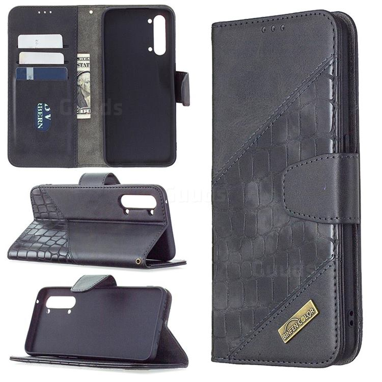 BinfenColor BF04 Color Block Stitching Crocodile Leather Case Cover for Oppo Find X2 Lite - Black