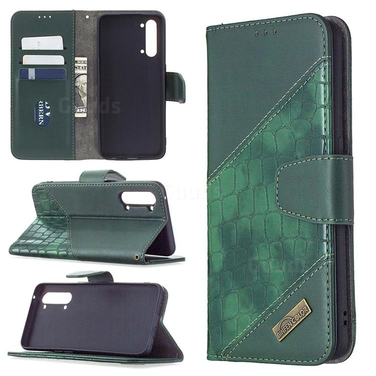 BinfenColor BF04 Color Block Stitching Crocodile Leather Case Cover for Oppo Find X2 Lite - Green