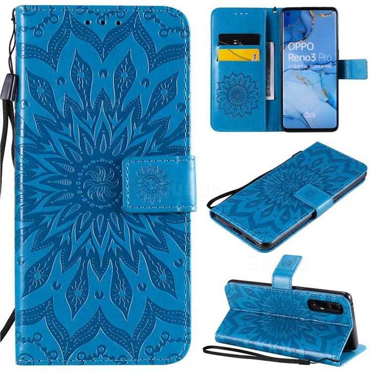 Embossing Sunflower Leather Wallet Case for Oppo Find X2 Neo - Blue