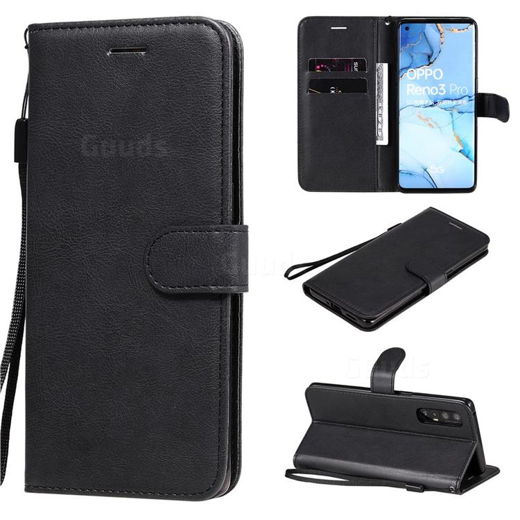 Retro Greek Classic Smooth PU Leather Wallet Phone Case for Oppo Find X2 Neo - Black