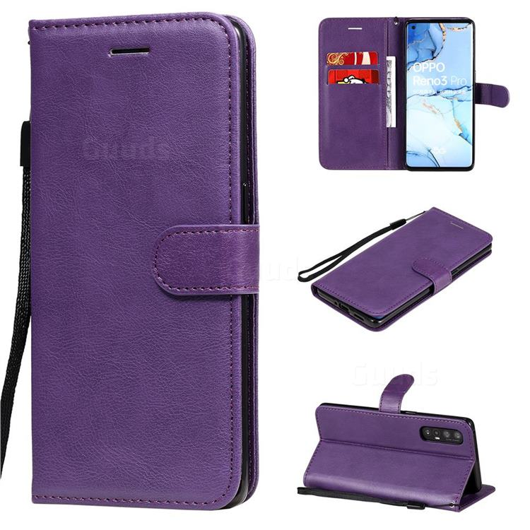 Retro Greek Classic Smooth PU Leather Wallet Phone Case for Oppo Find X2 Neo - Purple